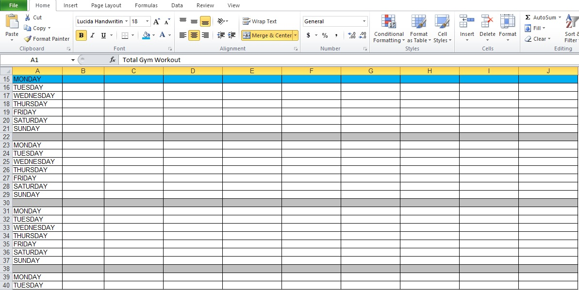 Workout Excel Sheet  BesikEightyCo