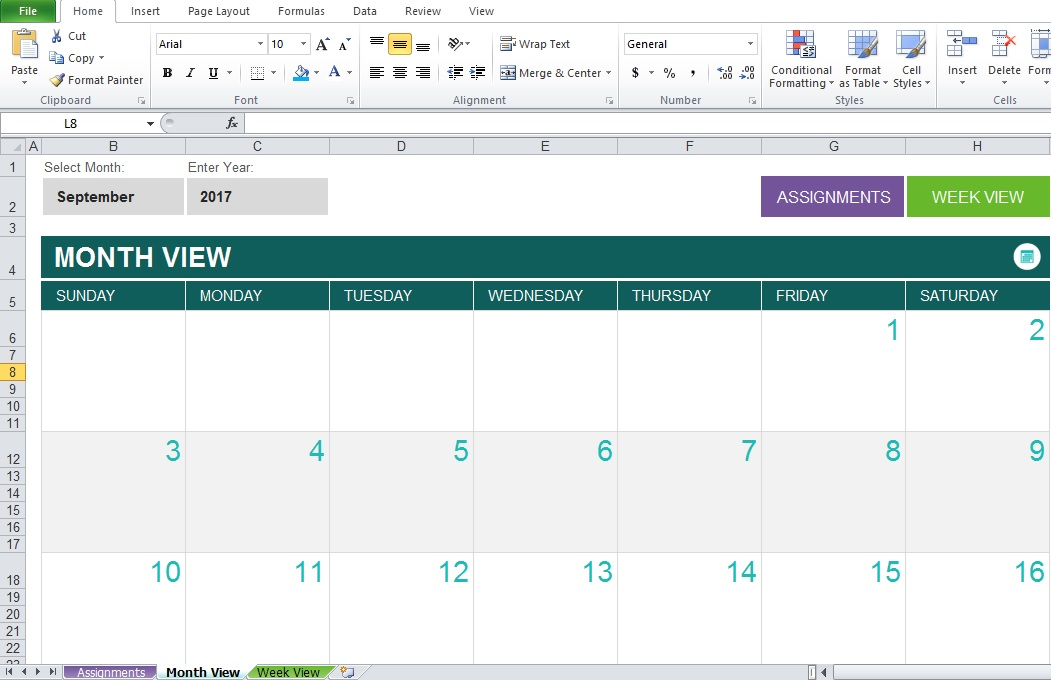 Monthly Assignment Planner Template For Student