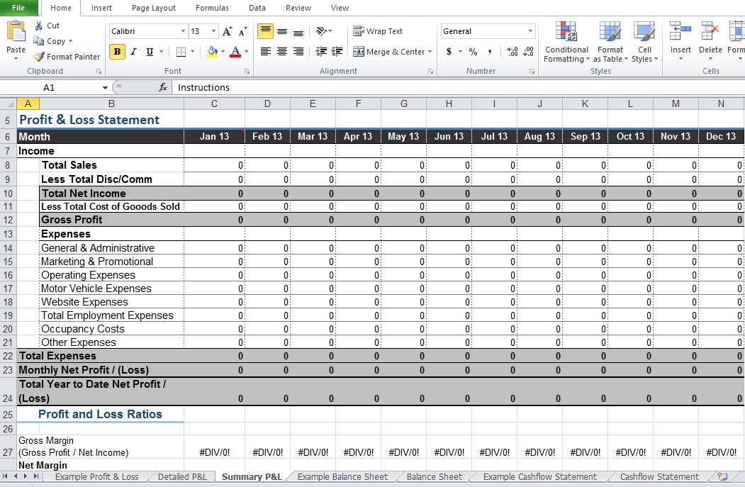 profit and loss statement format in excel