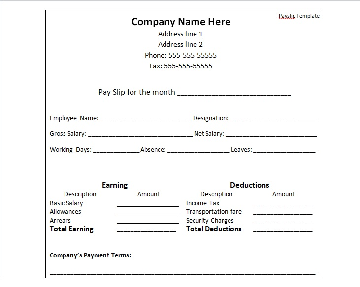 PAYSLIP TEMPLATE FORMAT IN Word  Payslip Template In Excel