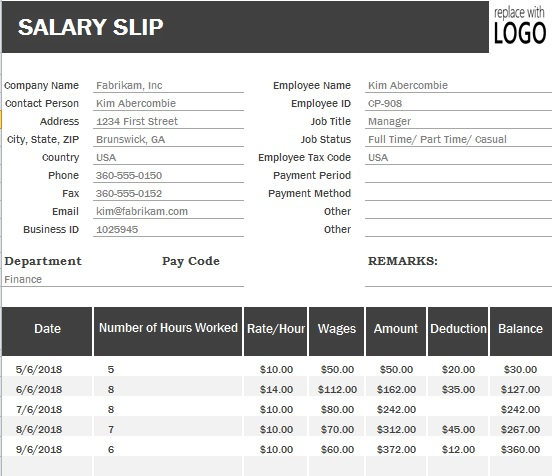 Payslip Format Template  Payslip Template Free Download