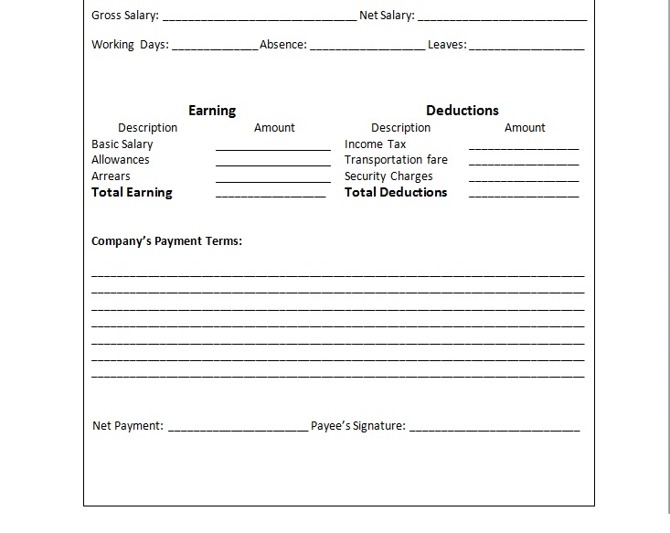 Payslip In Word Format – Template for Payslip