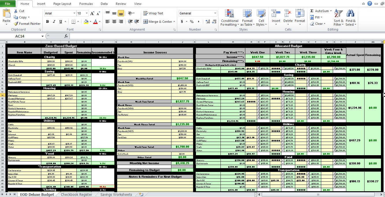 Budget worksheet excel