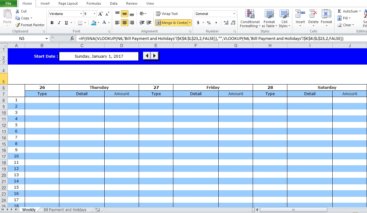 Professional Bill Pay Calendar Template