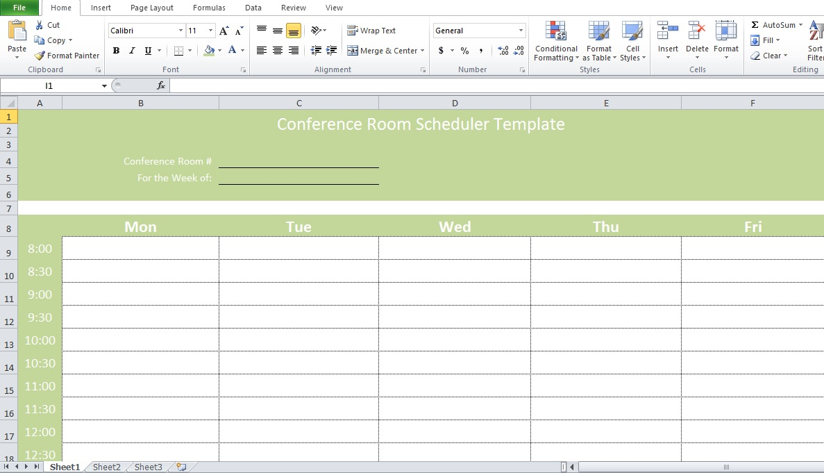 Professional Conference Room Scheduler Template