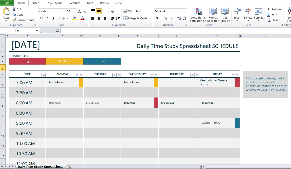 Professional Daily Time Study Spreadsheet Excel