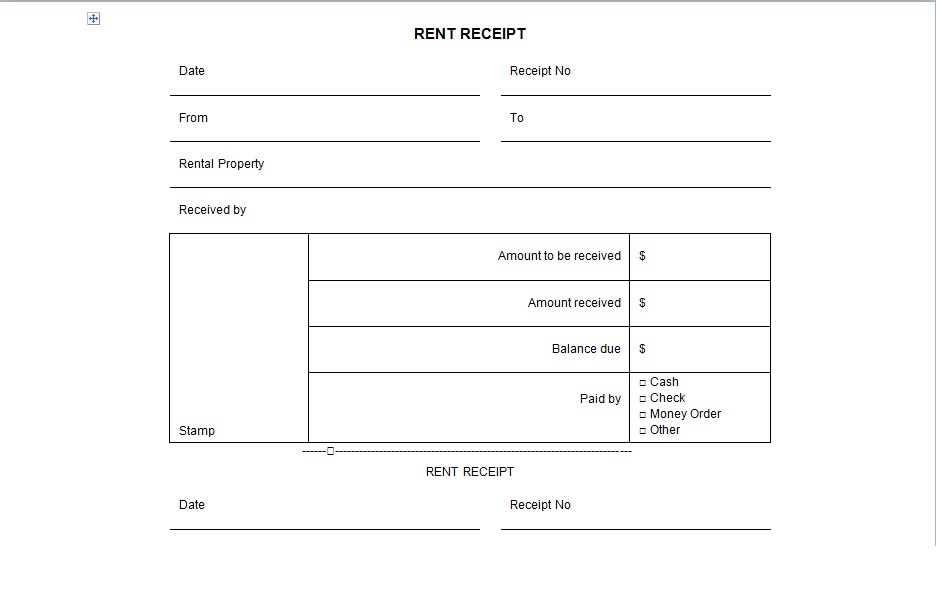 Rental Receipt Form Template  Excel Tmp