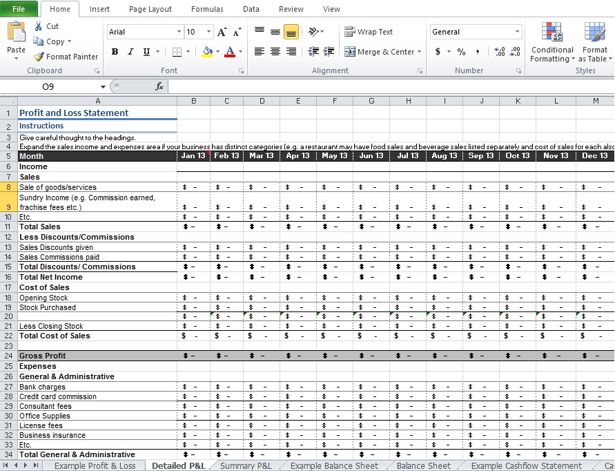 excel profit and loss template
