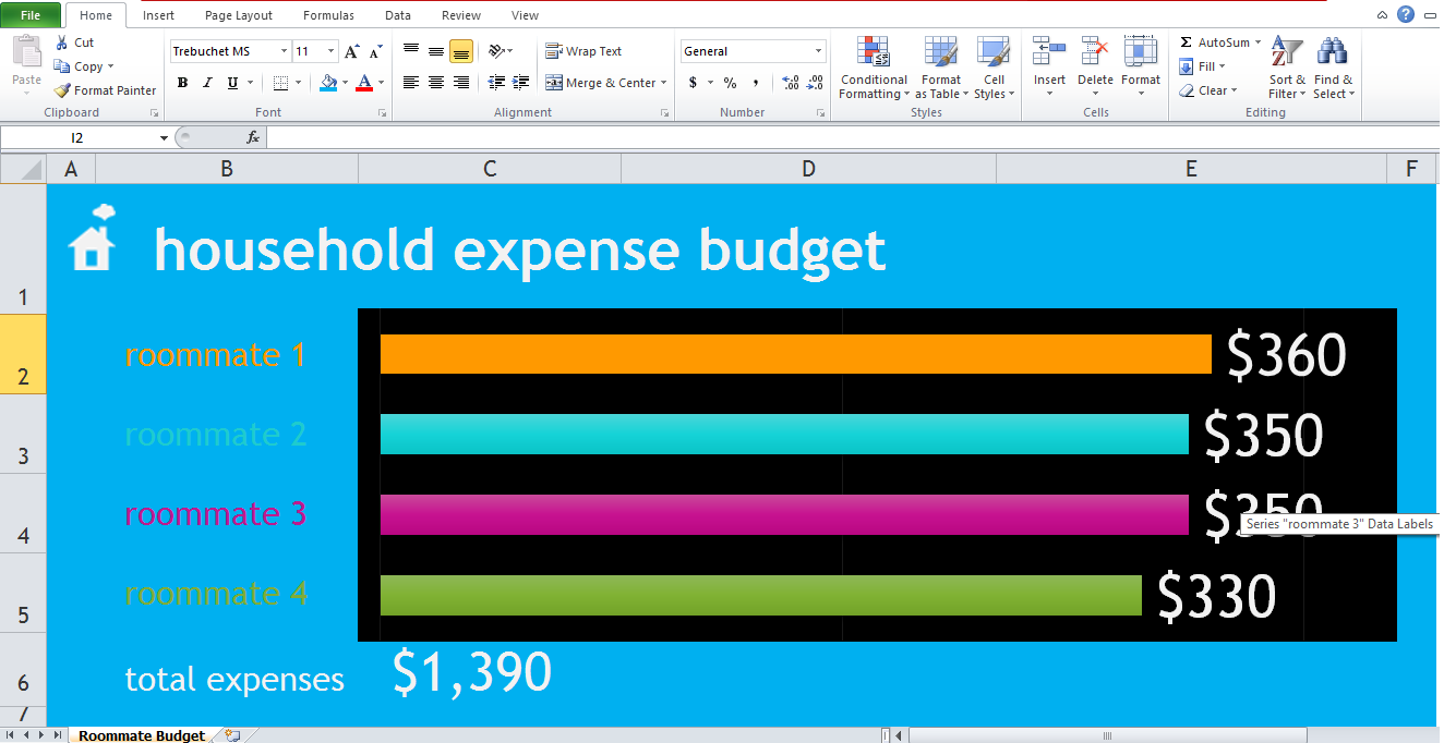roommate expense tracker excel