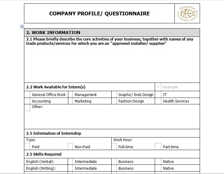 Sample Of Business Company Profile Template Excel Tmp
