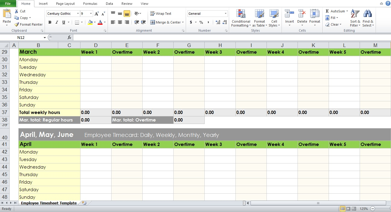 Sample Of Employee Timesheet Excel Template