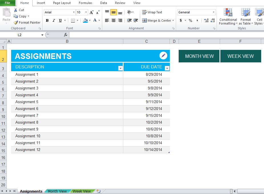 Sample of Assignment Planner Excel Template