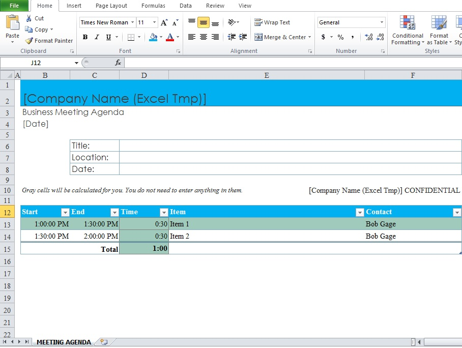 Business Meeting Agenda Template - Excel Tmp