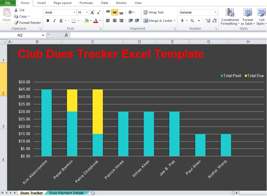 Sample of Club Dues Tracker Excel Template Free Download