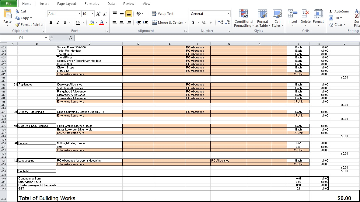 Sample of Contractor Estimate Template Free Download