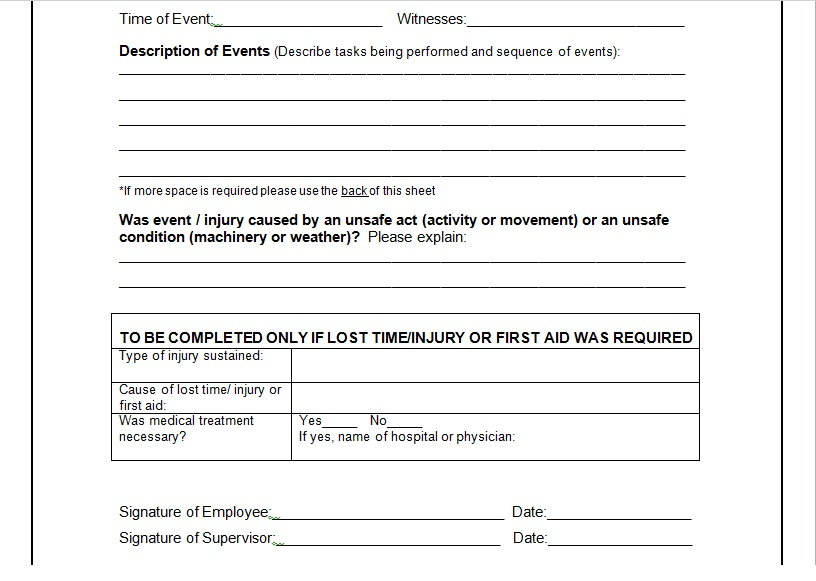 Sample of Incident Report Form Word Template