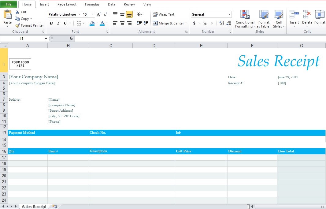 Simple Sales Receipt Template Excel