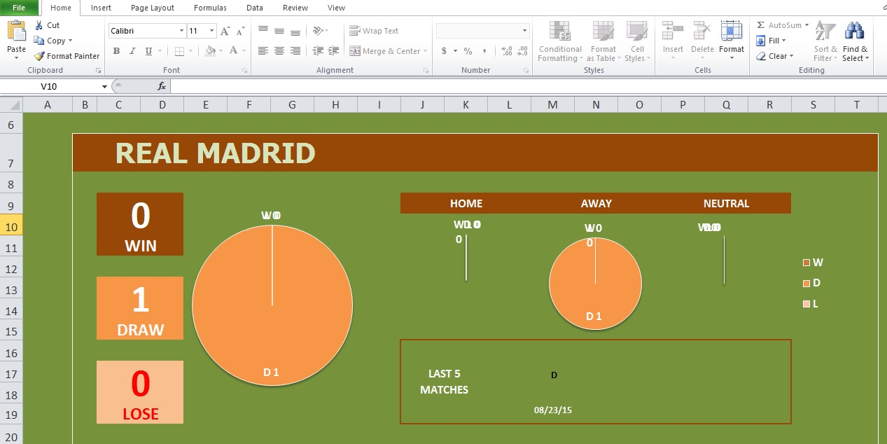 Soccer Stats Excel Template