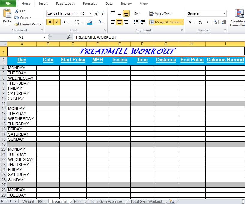 TREADMILL WORKOUT Spreadsheet
