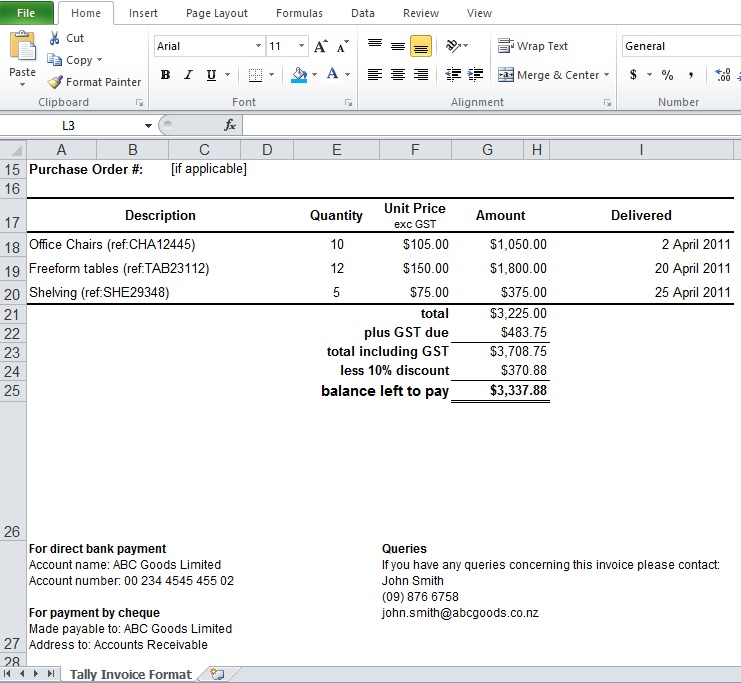 Tally Invoice Format Excel Download - Excel TMP