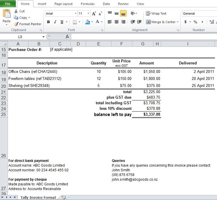 Tally Invoice Format