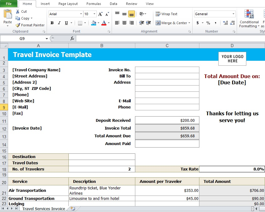 Travel Agency Invoice Template  Excel Tmp