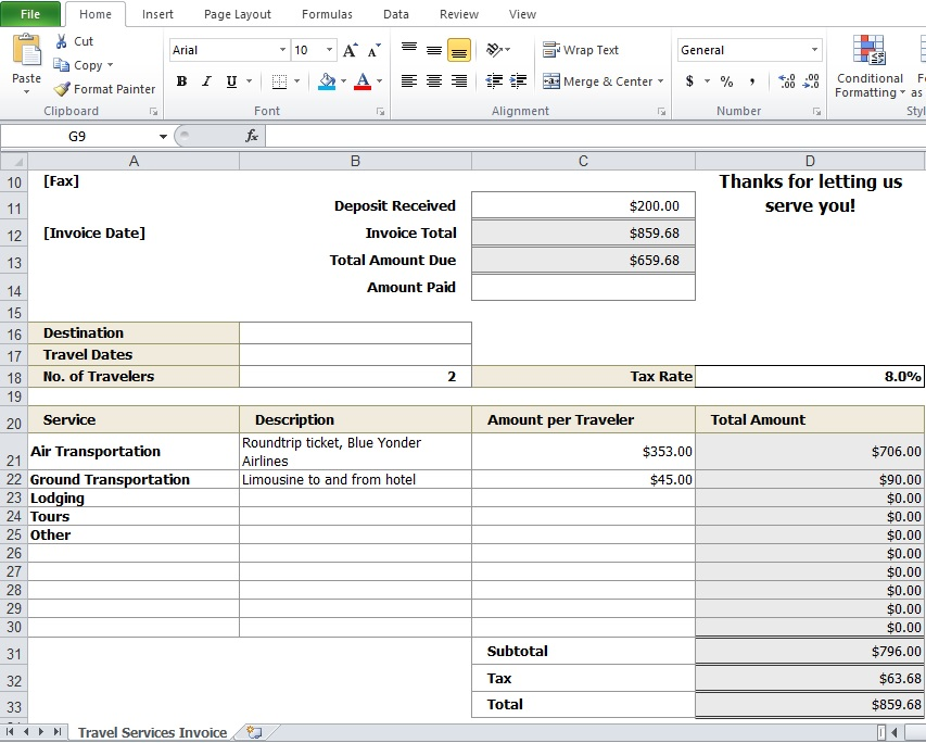 Travel Agency Invoice Format Excel