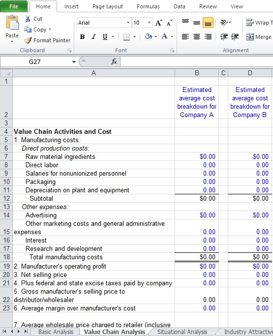 Value Chain Analysis Excel Template