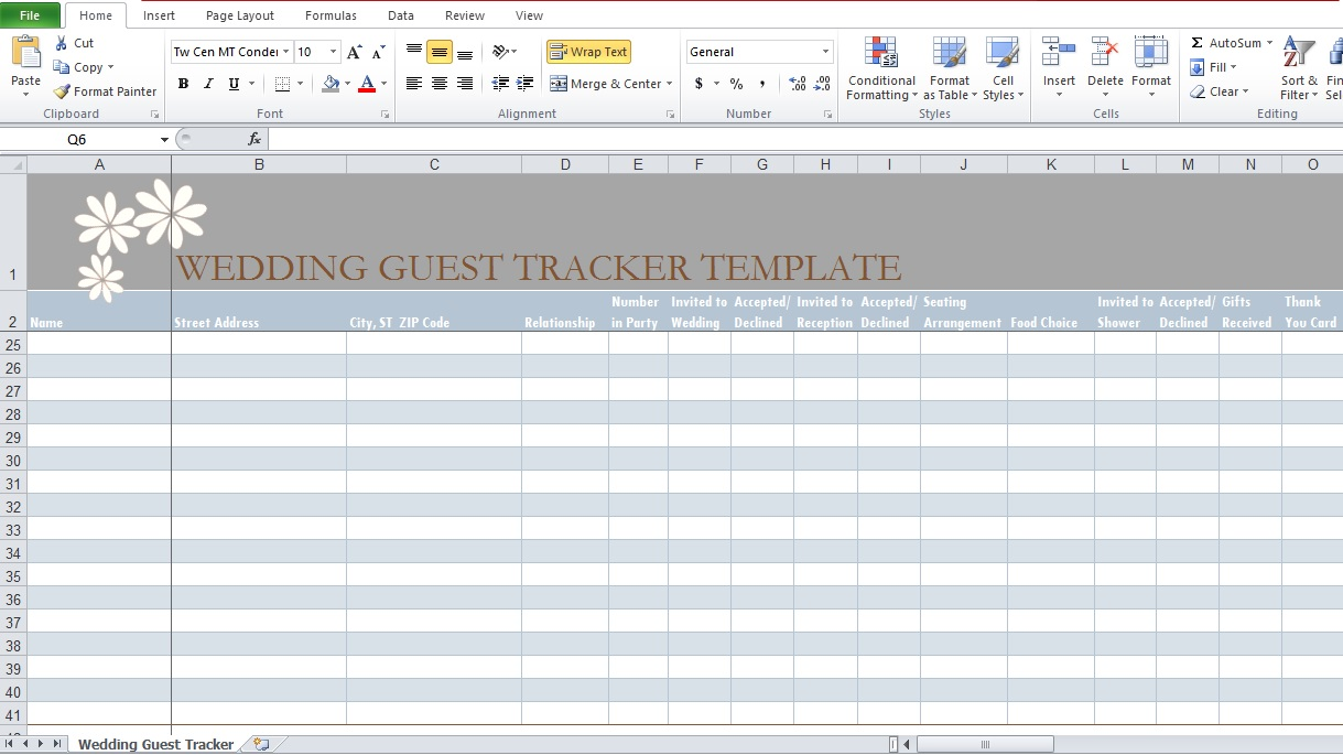 Wedding Guest List Excel Template