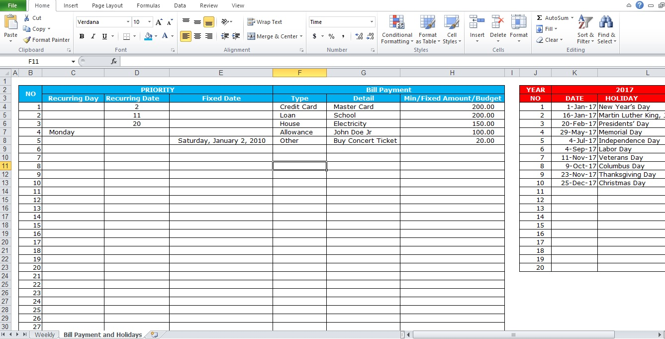 professional bill pay calendar template excel tmp