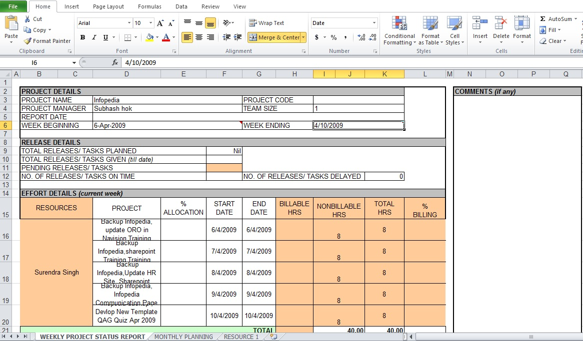 Weekly Report Template Excel