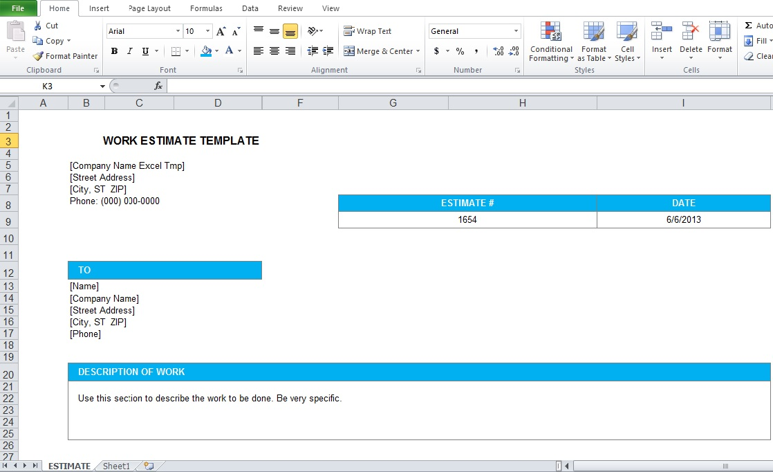 Quickbooks Estimate Template InvoiceAiryPro Document Using Word