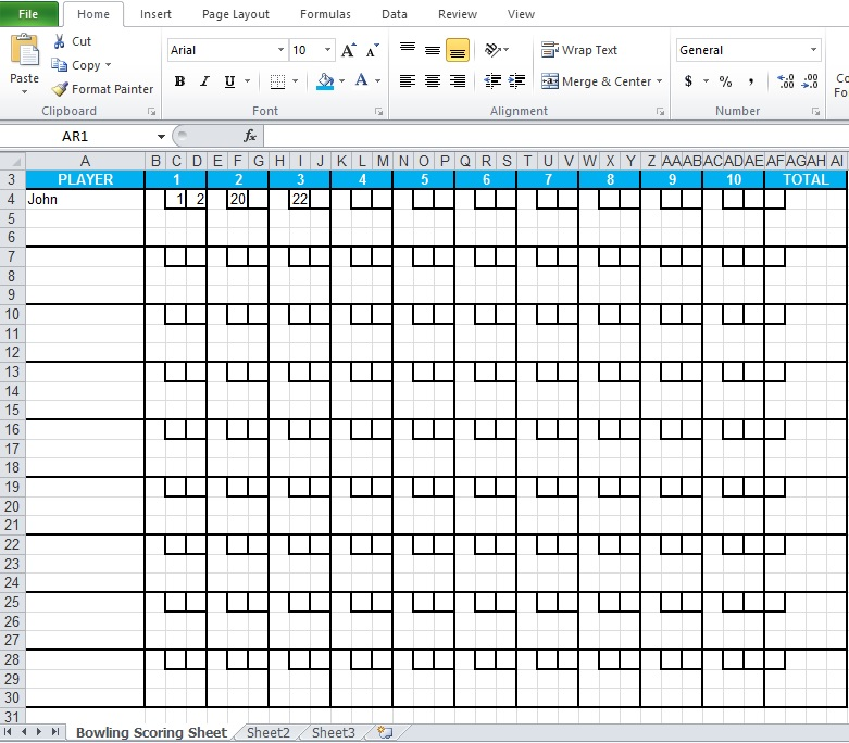 bowling score sheet excel