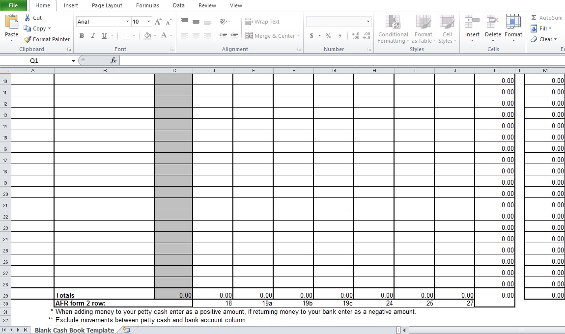 cash book template excel