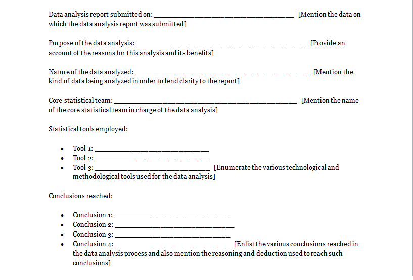analysis report template