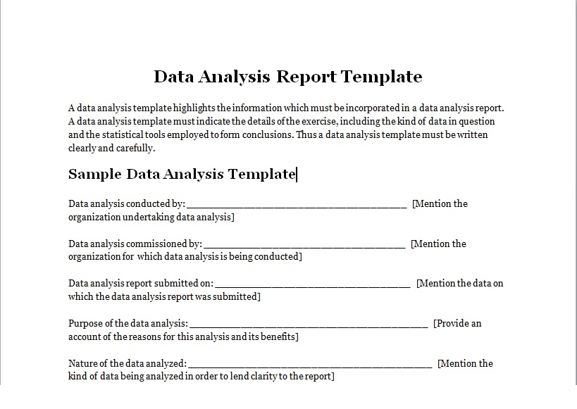 Data Analysis Report Template  Excel Tmp