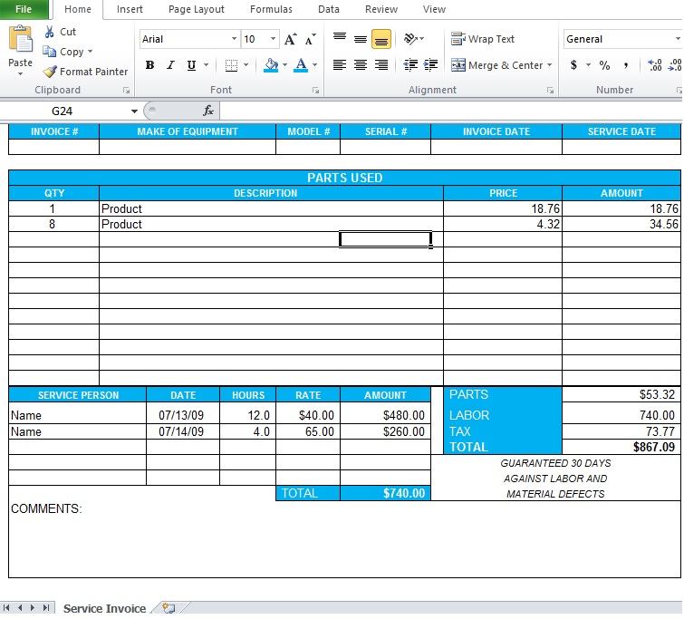 Excel 2010 Templates