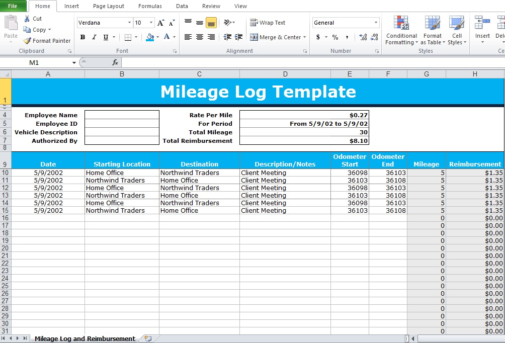 mileage form template