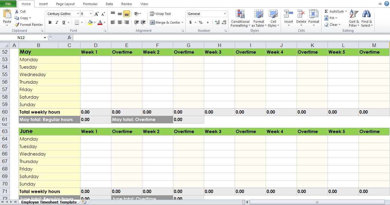 blank monthly timesheet