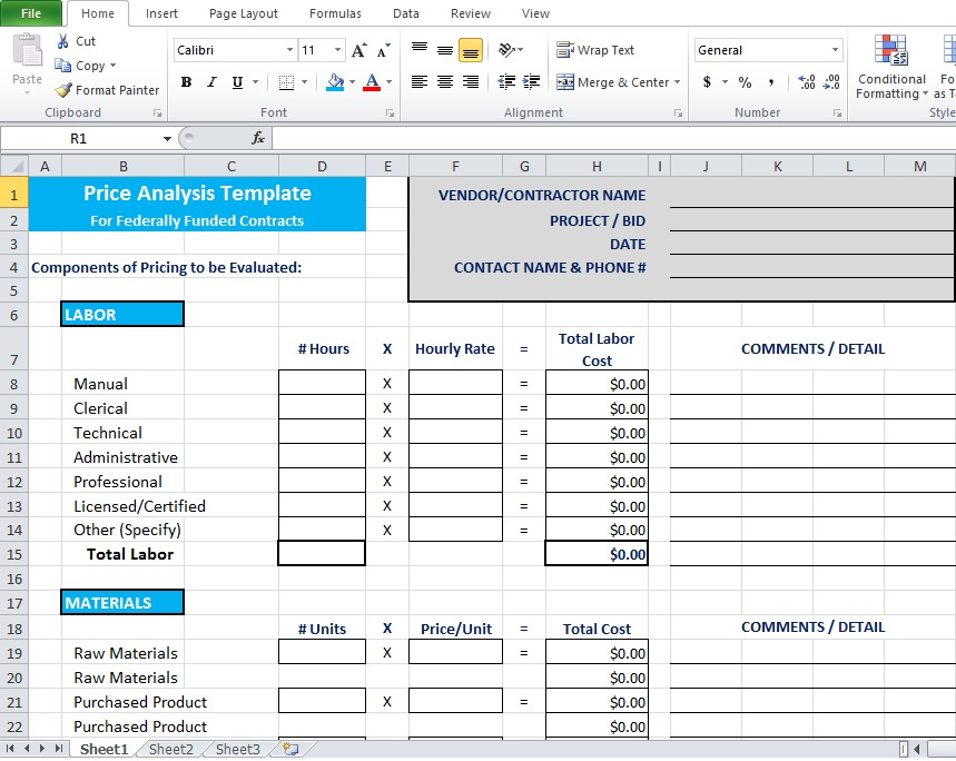 Price Analysis Spreadsheet Template - Excel TMP