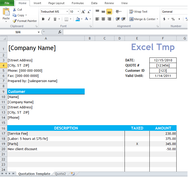 quotation template for excel muco tadkanews co