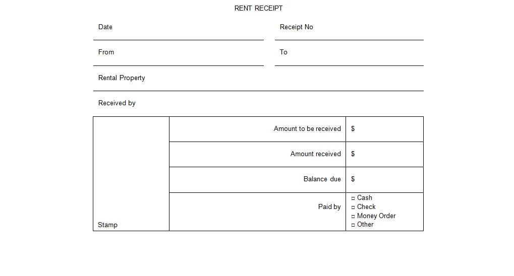 rental receipt form word template Doc Format