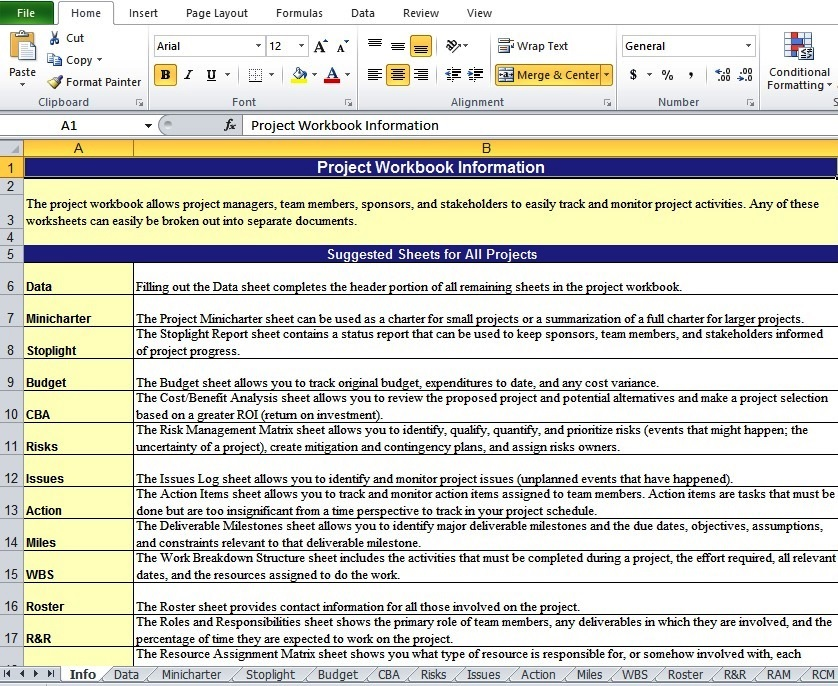 sample and example of project work plan excel template