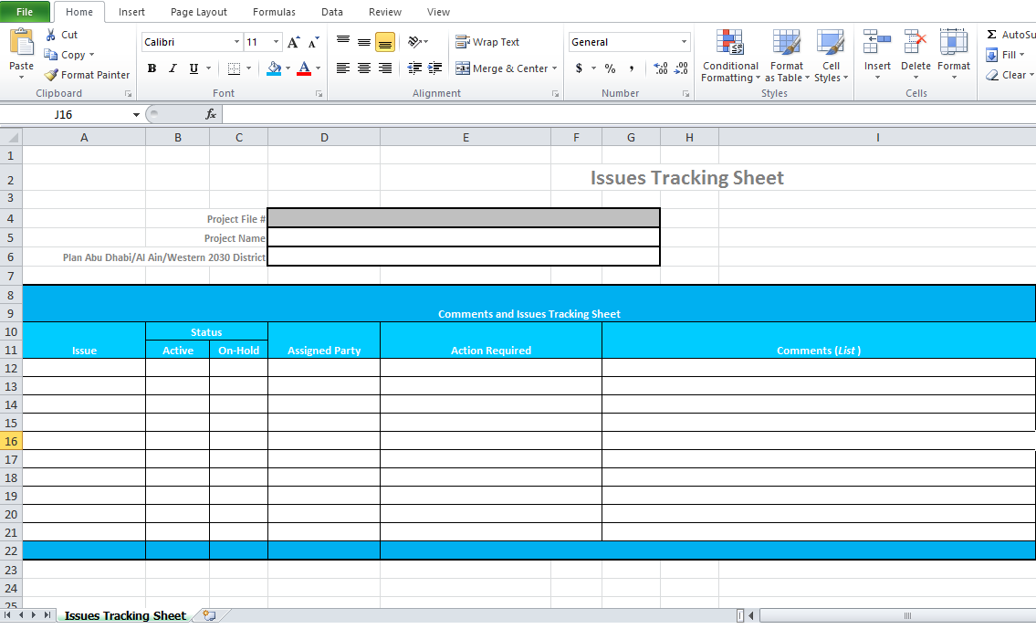 sample and examples of Issue tracking template in xls format