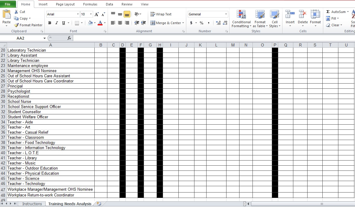 sample of training needs analysis excel template free download