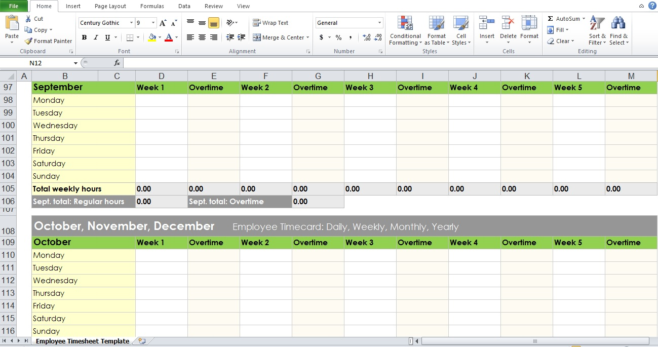 simple daily timesheet template