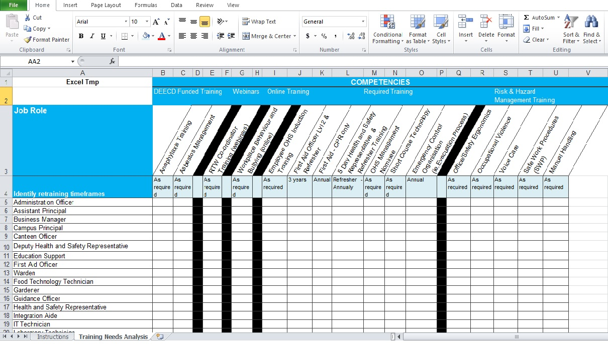 Training needs analysis template free excel tmp for Safety training matrix template