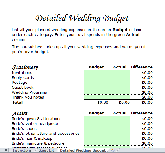 wedding budget calculator template