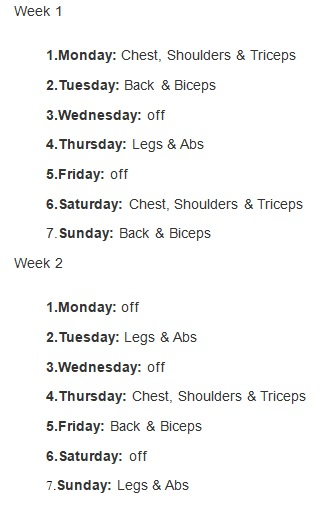 workout weekly weight training schedule