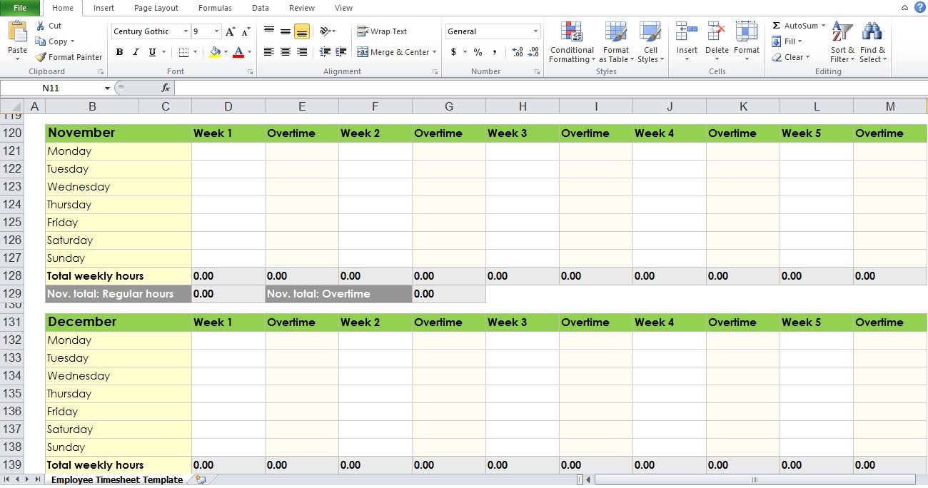 yearly timesheet template excel